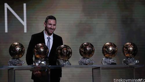 Аргентинецот Меси има шест златни топки, за најдобар фудбалер на светот