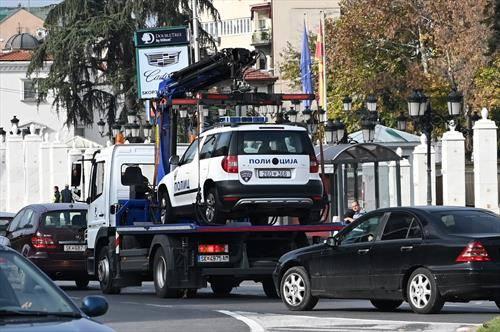 И полицијата во пајаковата мрежа, во Скопје