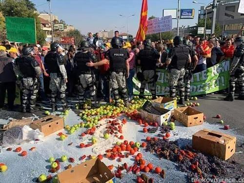 протест на земјоделците во Скопје