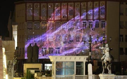 Светлосни ефекти врз Ибни Пајко на Белата ноќ во Скопје