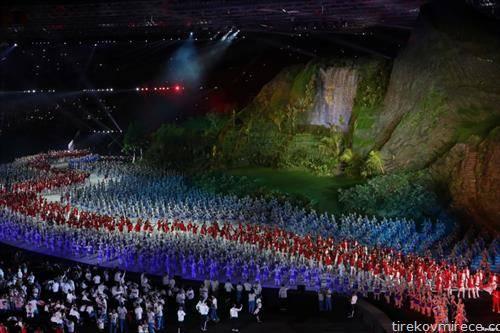 спортисти на отворањето на азиските спортски игри во Џакарта
