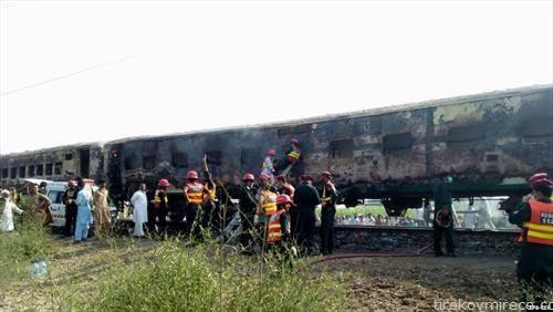 Најмалку 65 луѓе загинале  во пожар кој избувнал во патнички воз во Индија,  предизвикан од плинска боца во момент кога патник подготвувал појадок