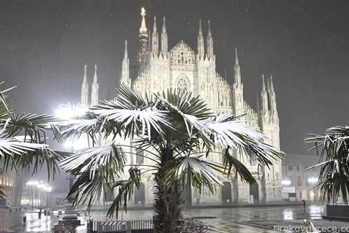 катедралата во Милано под снег