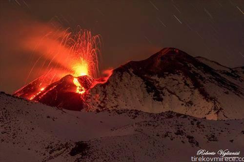 вулканот Етна еруптира на 7-ми декември годинава