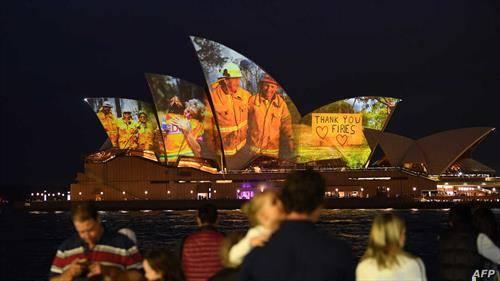 поддршка за пожарникарите во Австралија, на операта во сиднеј