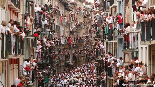трка со бикови во Памплона Шпанија