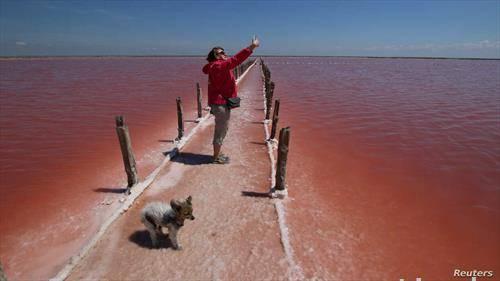 селфи каде се произведува сол, на Крим