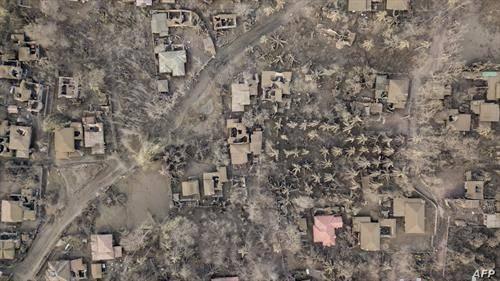 сателитска снимка, село на Филипините по ерупцијата на вулканот Таал