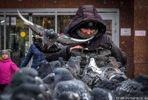 жена храни гулаби на плоштадот во Москва