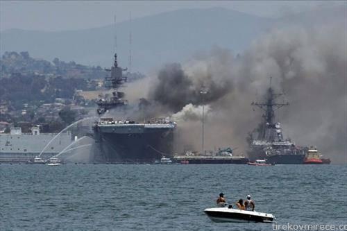 американски воен брод се запали во базата Сан диего