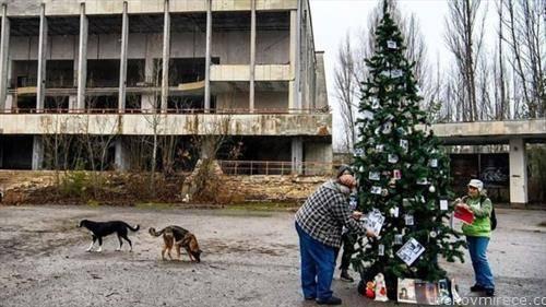 Божиќна елка беше поставена на главниот плоштад во Припјат за првпат од катастрофата во нуклеарната централа во Чернобил во 1986 година.