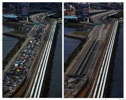 мостот помеѓу Малезија и Сингапур пред и за време на корона вирусот