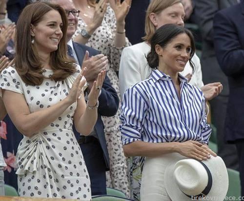 .  Кејт Мидлтон и Меган Маркл, сопруги на принцот Вилијам и на принцот Хари, за првпат беа заедно во јавност без своите сопрузи, на полуфиналниот тениски меч помеѓу Ѓоковиќ и Надал