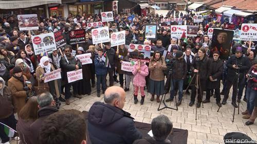 сарајлиите ги поддржаа Палестинците на мирен  протест а против одлуката на Трамп Ерусалем да биде главан град на  Изреел