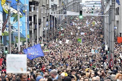 протест против климатските промени во Брисел