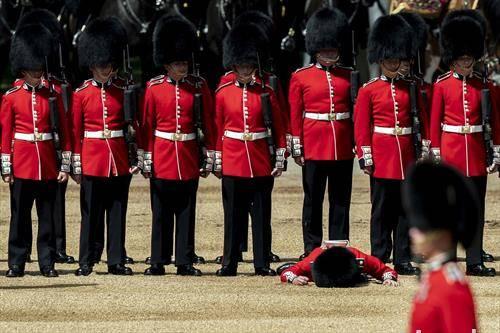 кралската британска гарда и еден  гардист долу