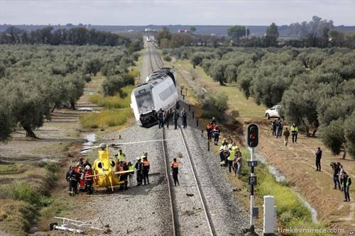 воз излета  од пруга во Шпанија