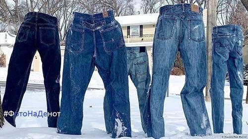 замрзнати фармерки стојат самостојно во САД поради ниските температури