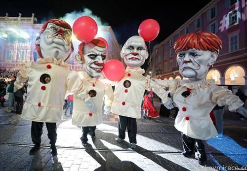 карневал во Ница со Меркл, трамп, Макрон и Путин