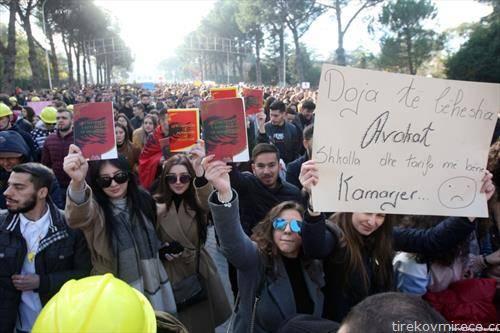 масовните студентски протести во Тирана и повеќе градови низ Албанија