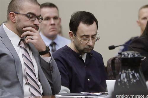 Лари Насар  во средината, Поранешниот спортски лекар,   кој неколку години  сексуално малтретирал   некои од најголемите гимнастичари во државата, признал и  бил осуден на 40 до 175 години затвор
