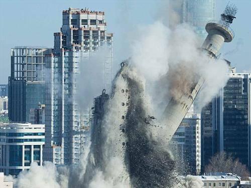 за потребите на СП во фудбал, во рускиот град Екатеринбург е срушена ТВ кула