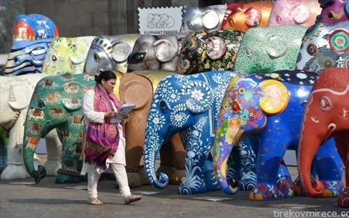 примероци на слонови на парадата на слонмови во индија