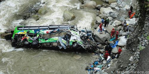 Најмалку 15 лица загинаа, а 35 се повредени откако  патнички автобус излета од патот и падна во река во планинска област во централен Непал