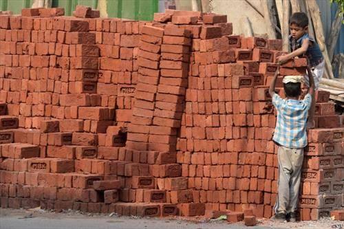 како се пренесуваат цигли во Њу Делхи