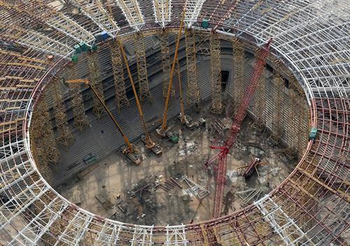 Самара фудбалската  арена се подготвува за СП 2018 во Самара, Русија.