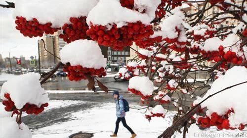 снегот падна во Санкт Петерсбург Русија