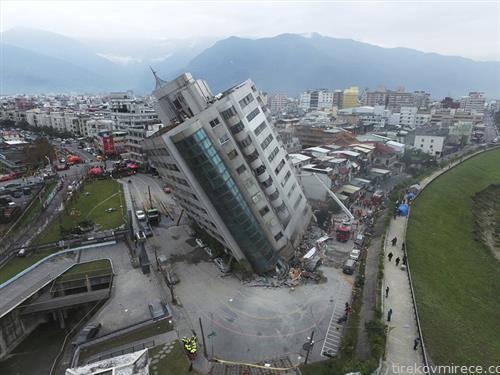 зграда во тајван по земјотресот од 6 степени
