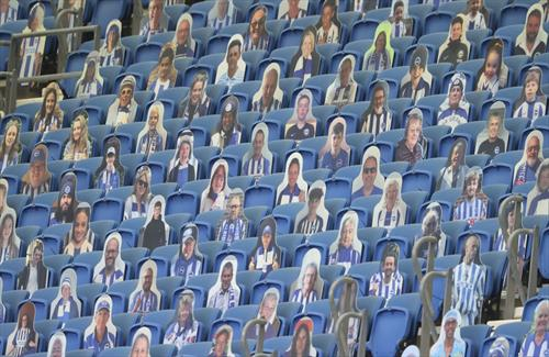 на стадионот во брајтон Англија, картонски навивачи