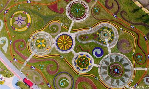 парк во кинески град, сликан од воздух