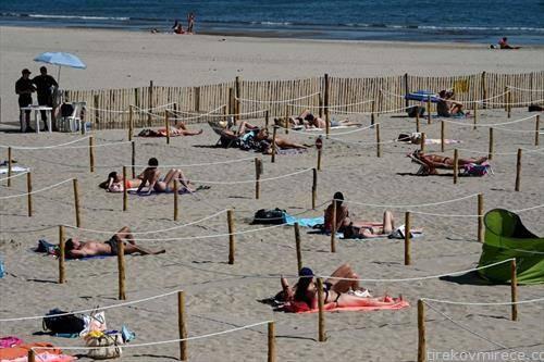 плажа со задолжително растојание на југот на Франција